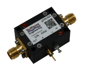 Figure 3. NuWaves' µHILNATM Low Noise Amplifier (LNA) operates from 50 to 1500 MHz, delivers 20 dB of gain, with less than 1 dB of Noise Figure (NF) and a Third-Order Intermodulation Product (IP3) of +31 dBm.