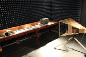 MIL STD 461 testing in the Anechoic Chamber.